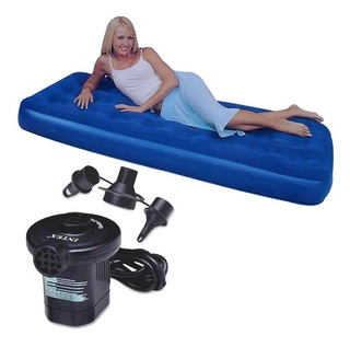 Colchon Inflable 1 Plaza + Inflador Electrico 220v Camping
