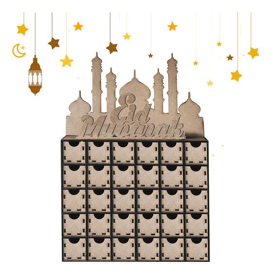 Madeira Mdf Eid Mubarak Ramadan Calendário Sinal Bandeja Dec