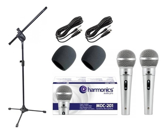 Kit 2 Microfones Mdc201+ 2 Espumas + 1 Pedestal + 1 Cachimbo