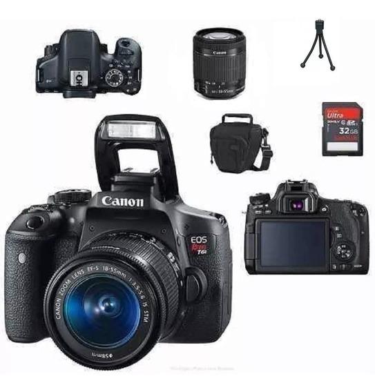 Câmera Canon Rebel T6i 18-55mm Efs + Sd 32gb + Bolsa + Tripé