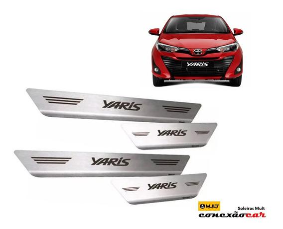 Soleira Aço Inox Escovado Yaris Hatch Sedan 2018 2019 2020