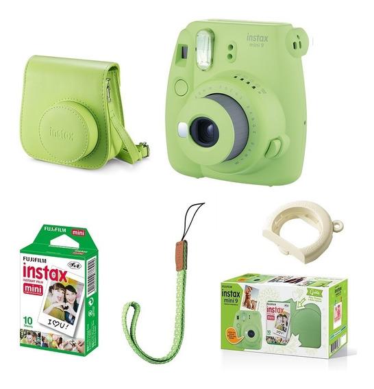 Kit Câmera Fujifilm Instax Mini 9 Verde Lima + 10 Fotos Original Lacrado C/ Garantia