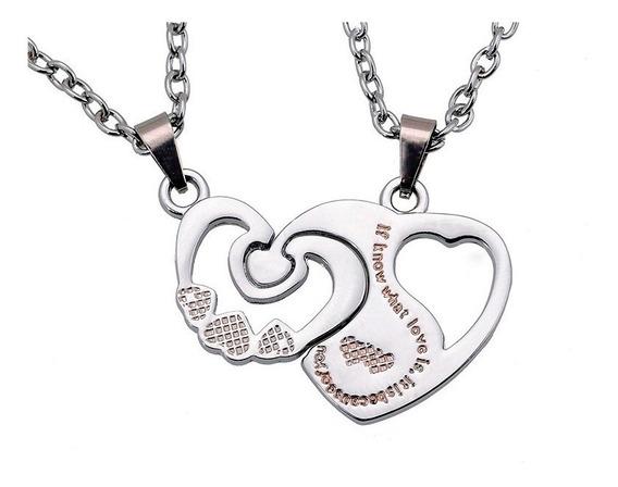 Set Collares Dijes Parejas Corazones I Love You Amor E-779