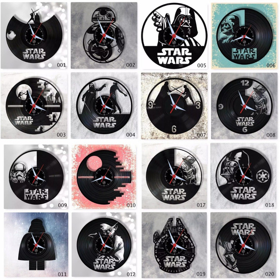 Star Wars Vários Modelos Nerd Geek Relógio Parede Vinil Lp