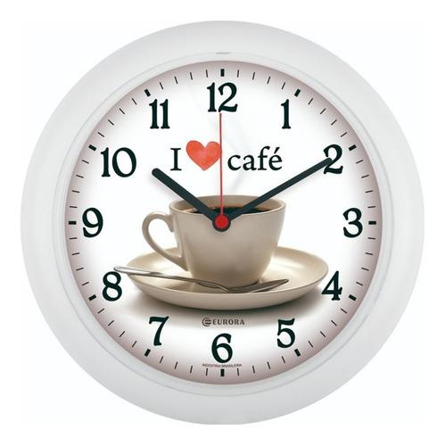 Imagem 1 de 4 de Relógio De Parede Eurora Cozinha Café Branco 6586