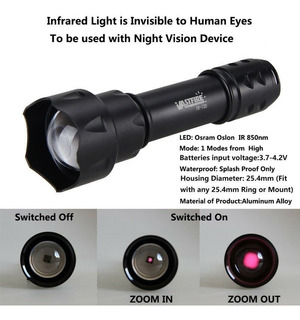 Lanterna Infravermelho T20 Ir 850nm Visao Noturna Zoon 7w