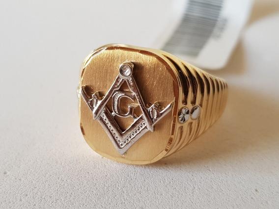 Anel Da Maçonaria Ouro 18k Símbolo Maçônico Em Ouro Branco
