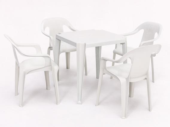 Conjunto De Mesa E 4 Cadeiras Plasticas Spazio - 182 Kg