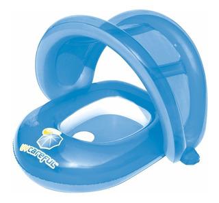 Bote Bebe Salvavidas C/techo/ Pasapie Inflable Mi Cielo Azul