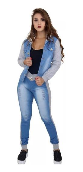 Conjunto Calça Jeans E Jaqueta Jeans Moletom Capuz.