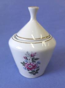 Açucareiro Porcelana Pozzani - Flores Com Dourado