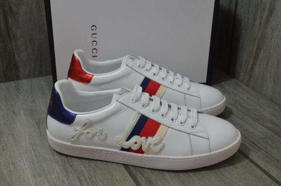 Sneakers Tenis Gucci Blind Love Blancos Envío Gratis