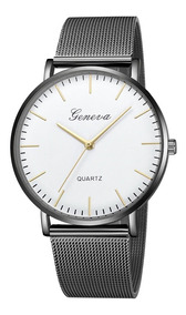 Relógio Luxo Masculino Geneva Pulso Social Pulseira Fivela