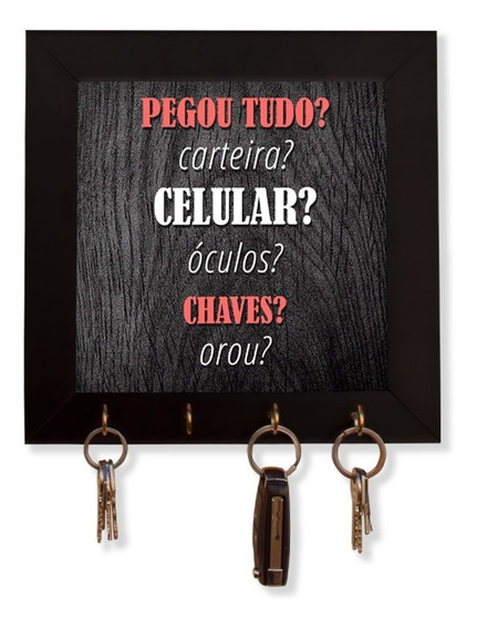 Quadro Porta Chaves Lembrança 24x24cm Frases Chaveiro Decora