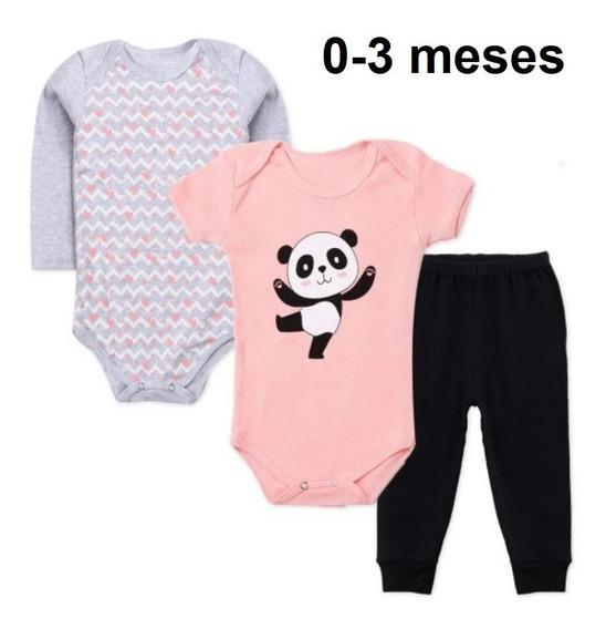 3 Pç Roupa Bebê Body Algodão Panda Neném Menina 0 A 3 Meses