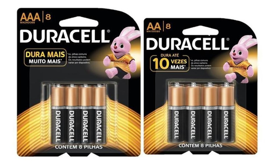 Kit Duracell Duralock Pilha Alcalina 8 Aa + 8 Aaa