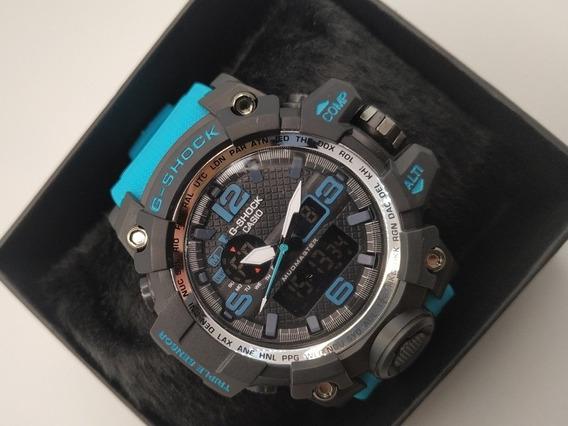 Relógio Preto Com Azul Turquesa Modelo Mudmaster G-shock