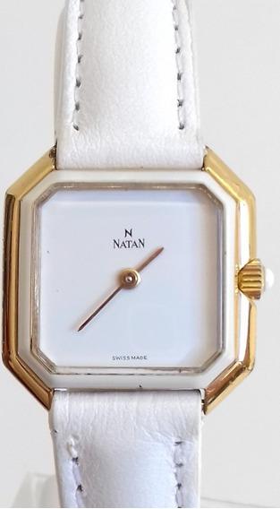 Relógio Natan Swissmade Dourado Raro Feminino À Corda Branco