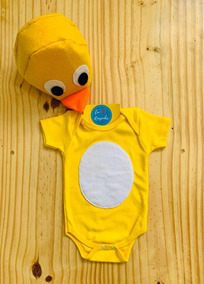 Body Pintinho Amarelinho Bebê Touca Personalizado