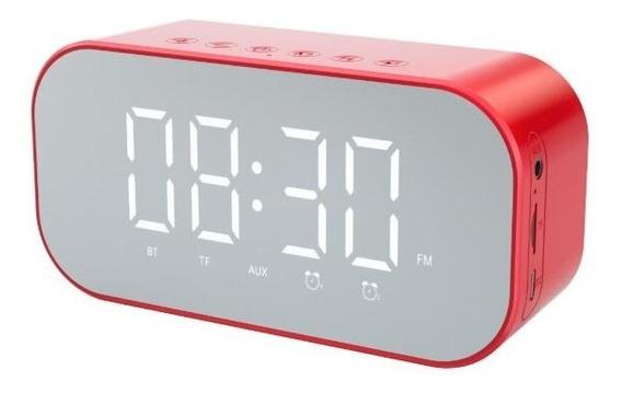 Caixa De Som Rádio Relógio Despertador Bluetooth Vermelho S5
