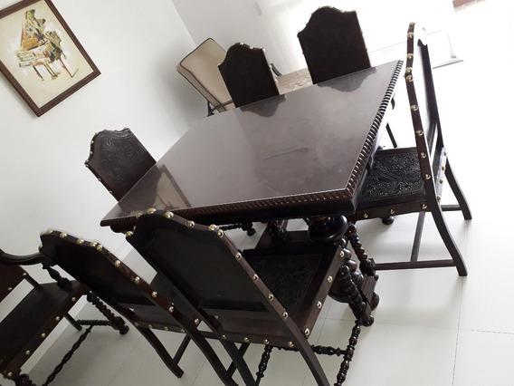 Antiga Mesa Jantar C/ 8 Cadeiras - Português Manoelino Colon