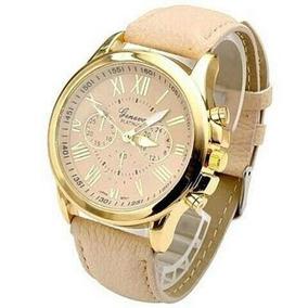 Relógio Feminino Dourado E Nude Lindo Original