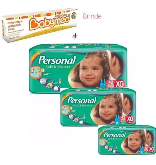 Fralda Personal Xg 42 Fraldas Cada Pct( 3 Pacotes) + Pomada
