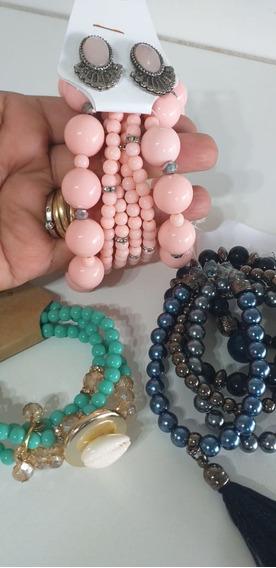 Kit 3 Kit Maxi Pulseira,rosa,turquesa,azul Escuro