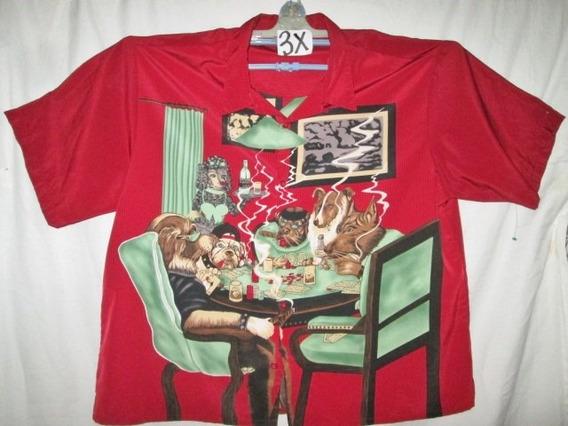 Camisa Casual Roja Con Estampado Perros En 3x No Bonduaries