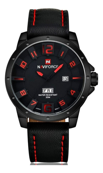Relógio Masculino Aço Inox Pulseira Couro Com Calendário