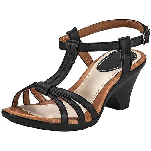 Zapatillas Formal Tacon Zoe Dama 7cm Piel Negro Dtt 68663