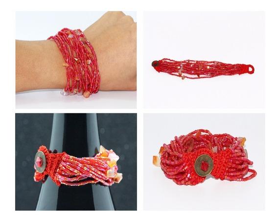 Pulsera Casual Chaquira Roja Y Piedras Pc189
