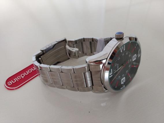 Relógio Mondaine Alógico Preto Prateado E Vermelho