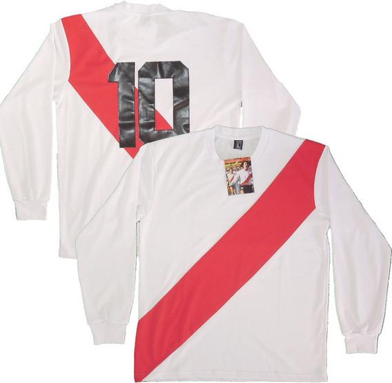 Camiseta Retro River Plate 1975 #10 Alonso Campeon Nr Cosido