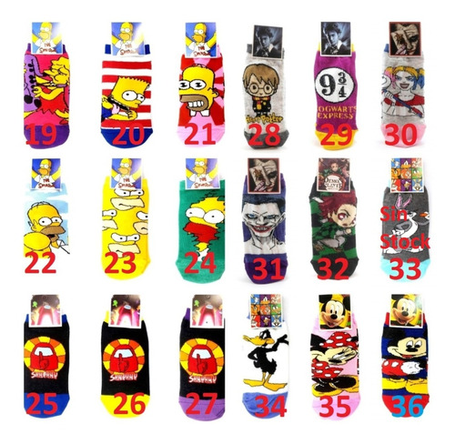 Imagen 1 de 10 de Set De 20 Unidades Medias Soquetes Algodon Comics Personajes