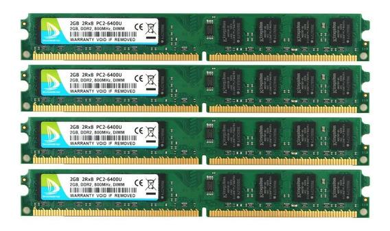 Memoria Ram 8gb Duomeiqi Kit(4x 2gb) 2rx8 Ddr2 800mhz Dimm Pc2-6300 Pc2-6400 Pc2-6400u Cl6 1.8v 240 Pin Non-ecc Unbu