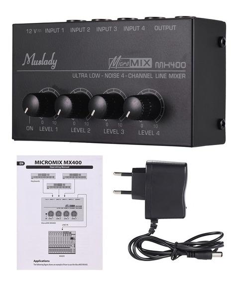 Mixer De Som Ultra-compacto Baixo Ruído 4 Canais De Linha