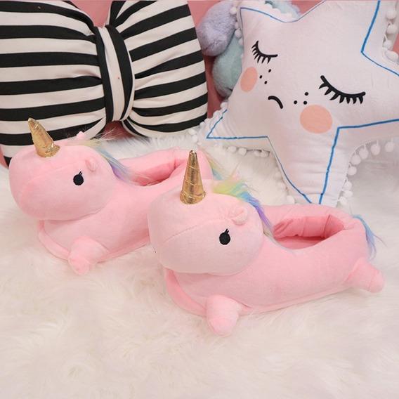 Pantufla Unicornio Sin Luz Talle Único 35-39 Rosa