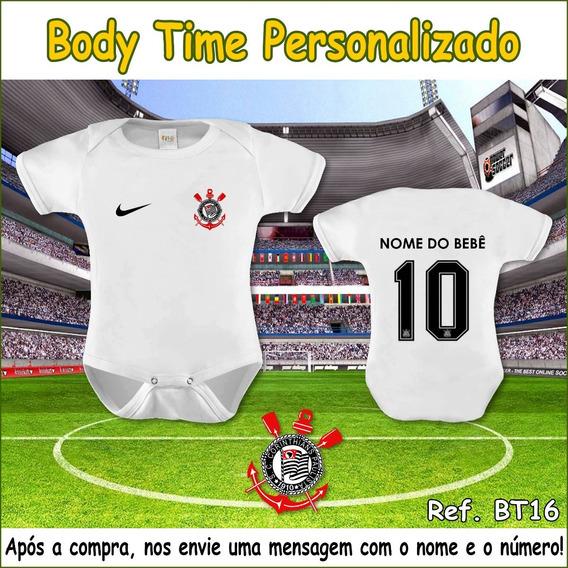 Body Bebê Corinthians Time Futebol Nome Personalizado Oferta