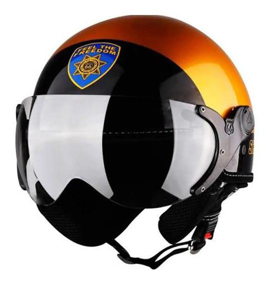 Capacete Aberto Kraft Plus Sheriff Policia Dourado Brilhante