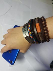 Kit Pulseira Unissex Couro 100% Estilo Cruz Bracelete