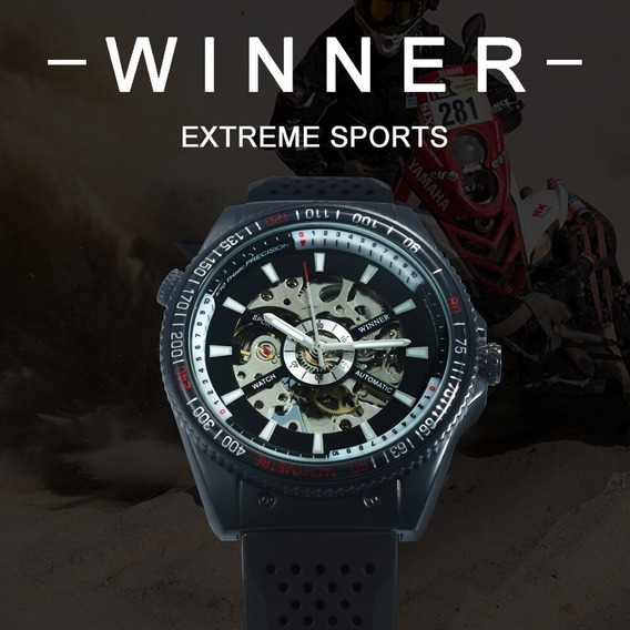 Relógio Automático Winner Extreme Sports Pulseira Borracha