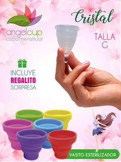 Copa Menstrual Ángelcup Crystal+ Vaso Esterilizador+ Regalo