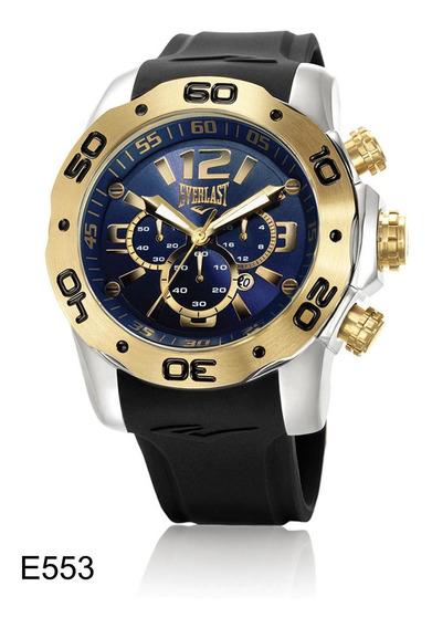 Relógio Pulso Everlast Masculino Cronografo Aço Preto E553