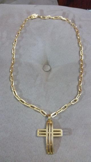 Cordão Prata Banhado Ouro De 75cm E 135g Com Pingente