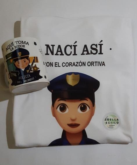 Remera Más Taza Cerámica -policia - Combo