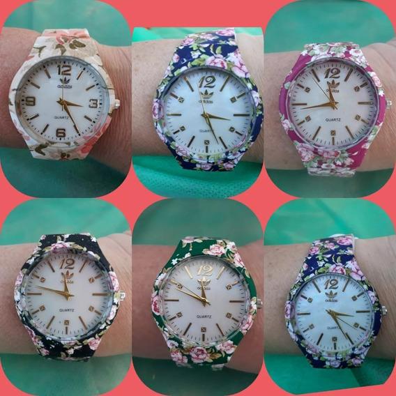 Kit C/ 16 Relógios Adids Floridos Femininos + Caixinhas .