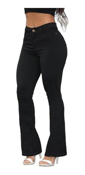 Calça Feminina Jeans Flare Barata Com Lycra Cintura Alta