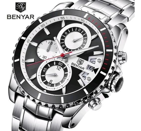 Relógio Masculino Benyar 5127 Original 30 Metros Preto Inox
