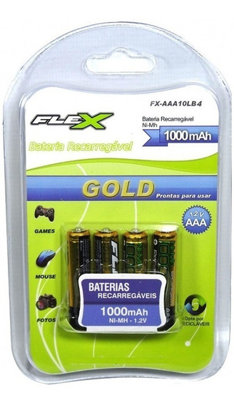 Pilha Recarregável Palito Aaa 1000mah Cartela 4 Pçs Flexgold